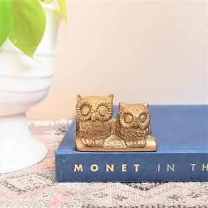 Vintage brass 2 owls figurine.